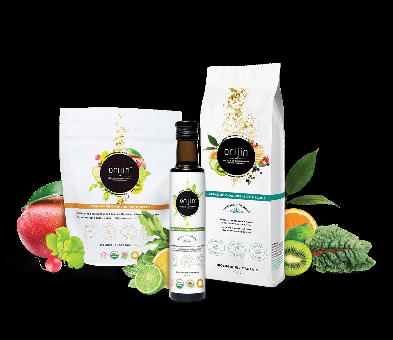 Orijin_Pack-promo_new graines de chanvre, huile de chanvre et farine de chanvre